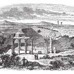 The ruins of Gerasa in Jordan vintage engraving — Stock Vector #6746995