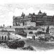 The Royal Palace of Madrid in Spain vintage engraving — Stock Vector #6751269