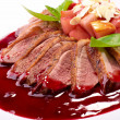 Roasted duck fillet with berry sauce — Stock Photo