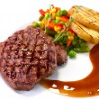 Rib-eye steak with vegetables - Stock Photo