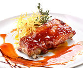 Pork ribs in barbecue sauce — Stock Photo