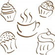 Cupcakes and coffee cup  icon in doodle style — Stock Vector