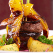 Grilled beef with peper and potato — Stock Photo