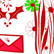 Red christmas greeting card — 图库照片
