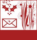 Tarjeta de felicitación de navidad rojo — Foto de Stock