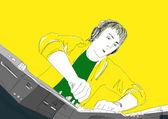 Dj juega en mesas giratorias — Foto de Stock