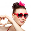 Royalty-Free Stock Photo: Sexy brunette woman in heart-shaped glasses