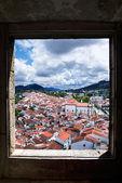Window framed overview of Castelo de Vide — Stock Photo