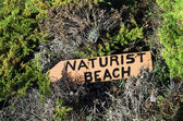 Naturist beach sign — Foto Stock