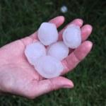 Big hailstone on the hand — Stock Photo