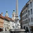 Robba Fountain in the Town Square in Ljubljana, Slovenia - Stock Photo
