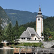 Church near Lake Bohinj, Julian Alps, Slovenia - Stock Photo