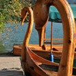 Swan boat in Bled, Slovenia — Stock Photo