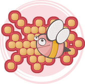 Cute Cartoon Pink Bee.Vector illustration — Stock Vector