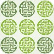 Set of Maze For Kids With Answer — Stock Vector