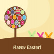 Easter card with colorful eggs and rabbits, vector illustration — Stock Photo #22987052