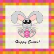 Easter card with rabbit and egg, vector — Photo