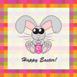 Easter card with rabbit and egg, vector — Foto Stock