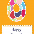 Stock Photo: Easter greeting card with colorful eggs, vector