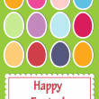 Easter card with cute colorful paper eggs, vector — Stock Photo