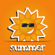 Pretty summer background with sun, vector — 图库照片