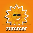 Pretty summer background with sun, vector — Stok fotoğraf