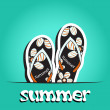 Pretty summer background with slippers, vector — Stock Photo