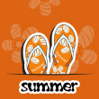 Pretty summer background with slippers, vector — Stok fotoğraf