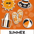 Pretty funny summer (beach) icon set, vector — Photo