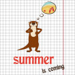 Pretty summer background with otter, vector — Stock Photo