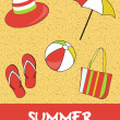 Pretty funny summer (beach) icon set, vector — 图库照片