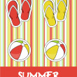 Pretty funny summer (beach) icon set, vector — Stockfoto