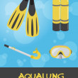 Stock Photo: Icon set of summer underwater (scuba) devices, vector