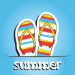 Pretty summer background with slippers, vector — Stock Photo #22988038