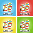 Set of pretty summer background with slippers, vector — Stock Photo #22988040