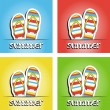 Set of pretty summer background with slippers, vector — Stock Photo