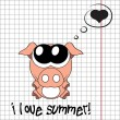Pretty summer background with pig, vector — Stock Photo