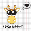 Pretty summer background with giraffe, vector — Stock Photo