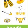Set of pretty colorful summer icons, vector — Stock Photo #22988132