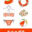 Set of pretty colorful summer icons, vector — Stock Photo #22988140