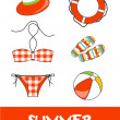 Set of pretty colorful summer icons, vector — Stockfoto