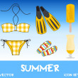 图库照片: Set of pretty colorful summer icons, vector