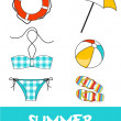 Set of pretty colorful summer icons, vector — Stock Photo #22988144