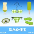 Set of pretty colorful summer icons, vector — Foto Stock