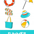 Set of pretty colorful summer icons, vector — Stock Photo #22988148