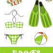 Set of pretty colorful summer icons, vector — Stock Photo #22988150