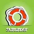 Summer vector background with ring-buoy — Stok fotoğraf