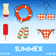 Set of pretty colorful summer icons, vector — Foto de Stock