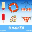 Stock Photo: Set of pretty colorful summer icons, vector