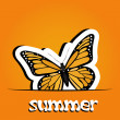 Pretty summer background with butterfly, vector — Foto Stock